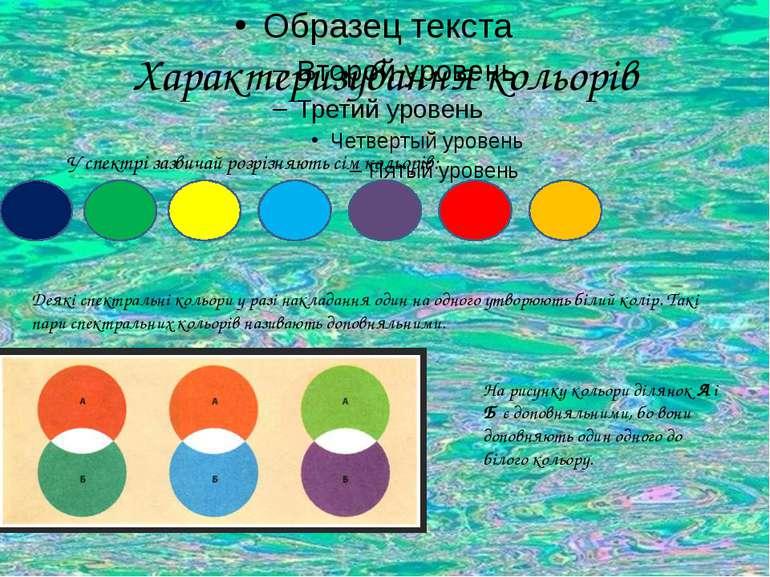 Характеризування кольорів У спектрі зазвичай розрізняють сім кольорів: Деякі ...