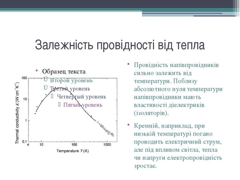 Залежність провідності від тепла Провідність напівпровідників сильно залежить...