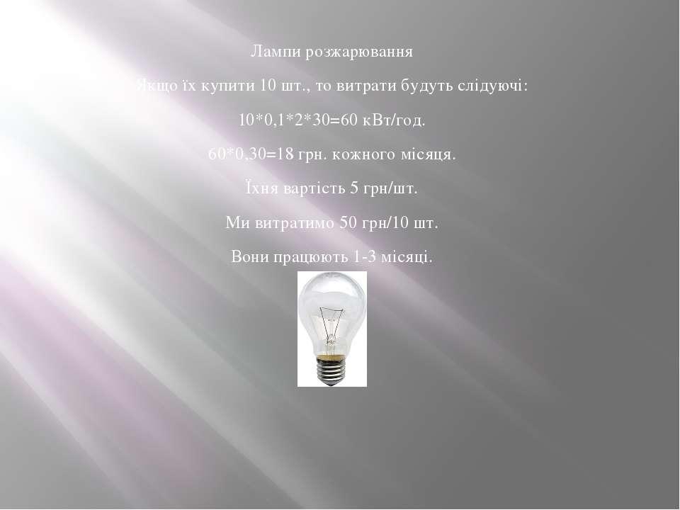 Лампи розжарювання Якщо їх купити 10 шт., то витрати будуть слідуючі: 10*0,1*...
