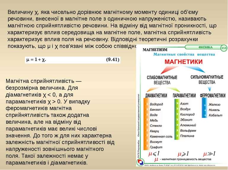 Величинуχ, яка чисельно дорівнює магнітному моменту одиниці об'єму речовини,...