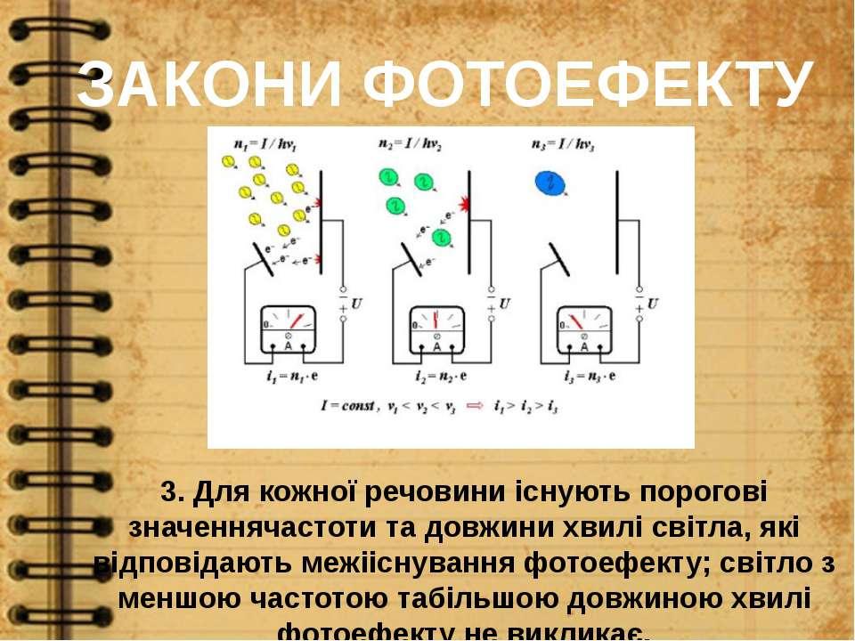 ЗАКОНИ ФОТОЕФЕКТУ 3. Для кожної речовини існують порогові значеннячастоти та ...