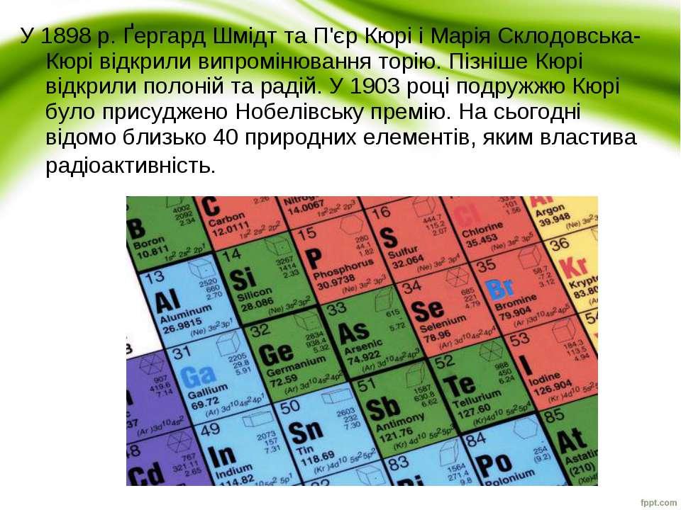 У1898р.Ґергард ШмідттаП'єр КюрііМарія Склодовська-Кюрі відкрили випром...