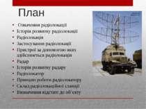 План Означення радіолокації Історія розвитку радіолокації Радіолокація Застос...