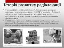 Історія розвитку радіолокації У вересні 1922р . у США, Х.Тейлор і Л. Янг пров...