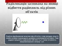 Радіолокація заснована на явищі відбиття радіохвиль від різних об'єктів Помі...