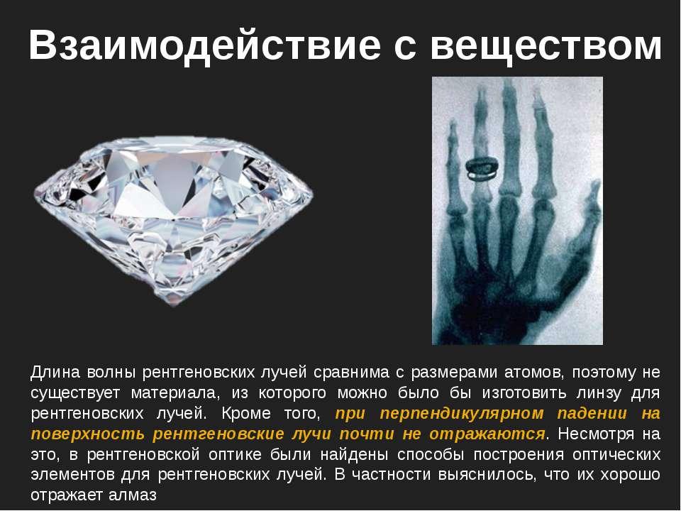 Взаимодействие с веществом Длина волны рентгеновских лучей сравнима с размера...