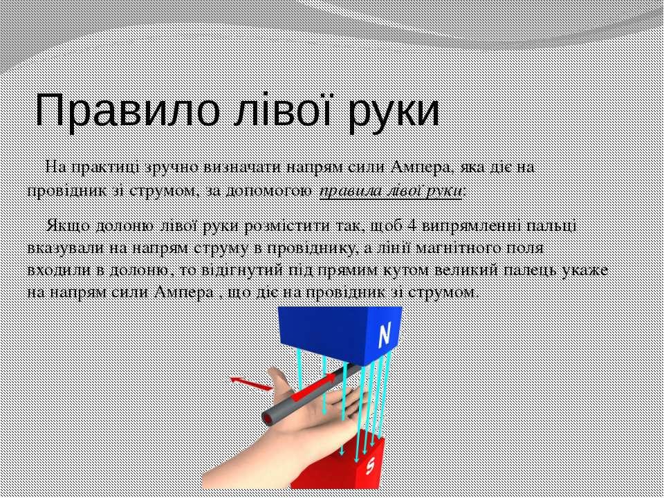 Правило лівої руки На практиці зручно визначати напрям сили Ампера, яка діє н...