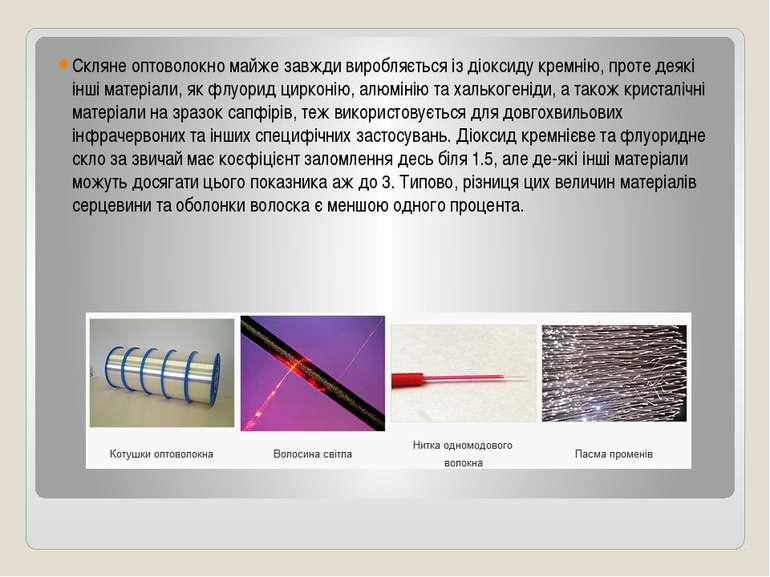 Скляне оптоволокно майже завжди виробляється із діоксиду кремнію, проте деякі...