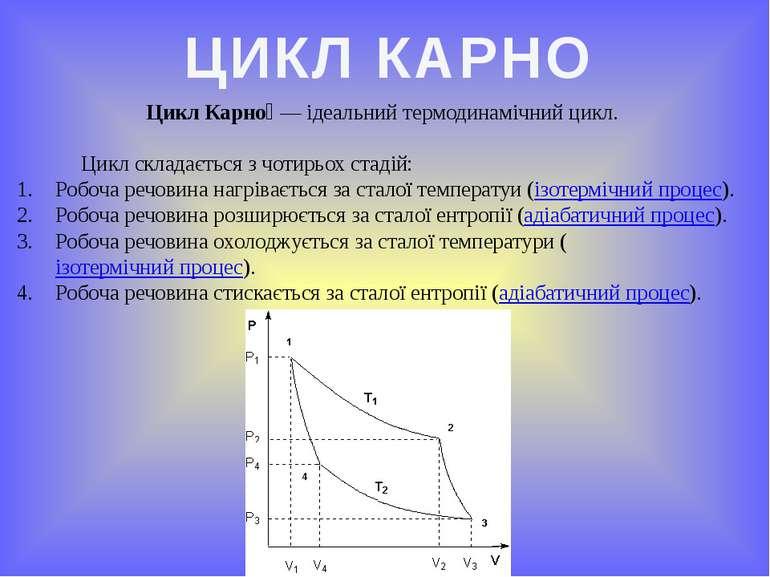 ЦИКЛ КАРНО Цикл Карно — ідеальний термодинамічний цикл. Цикл складається з ч...