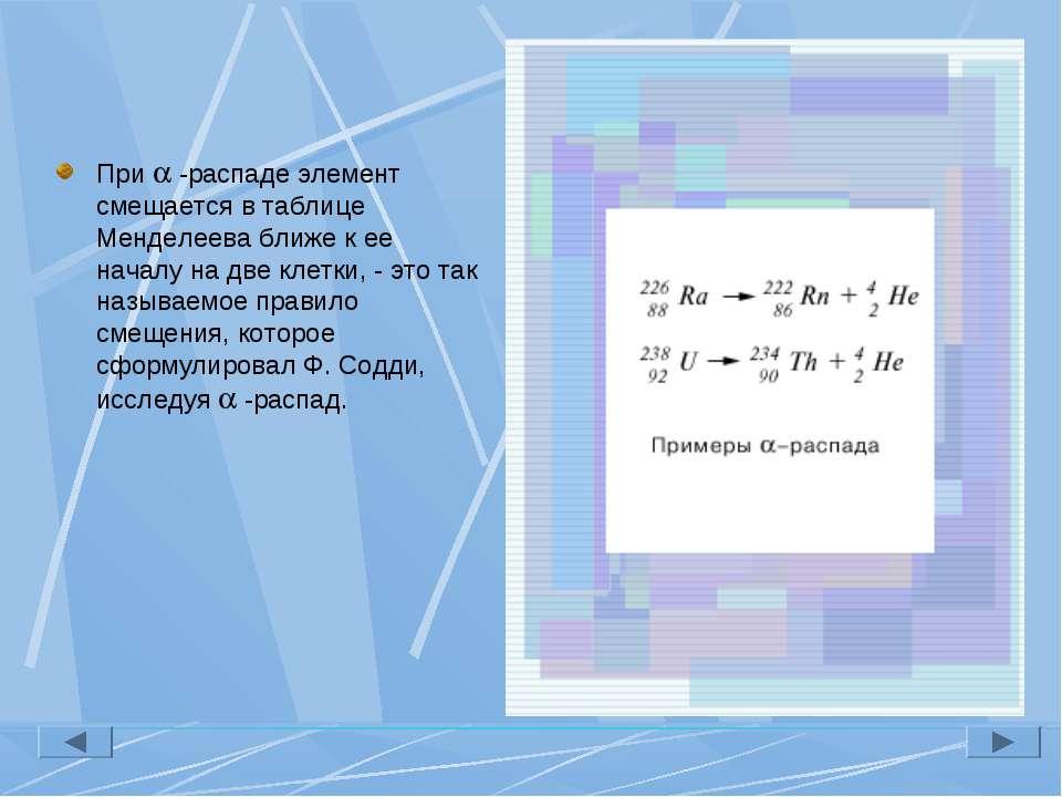 При -распаде элемент смещается в таблице Менделеева ближе к ее началу на две ...