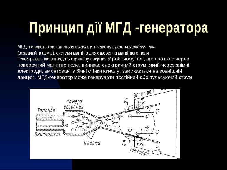 Принцип дії МГД -генератора МГД-генератор складається зканалу,по якому рух...