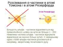 Розсіювання α-частинки в атомі Томсона і в атомі Резерфорда Атом Резерфорда а...