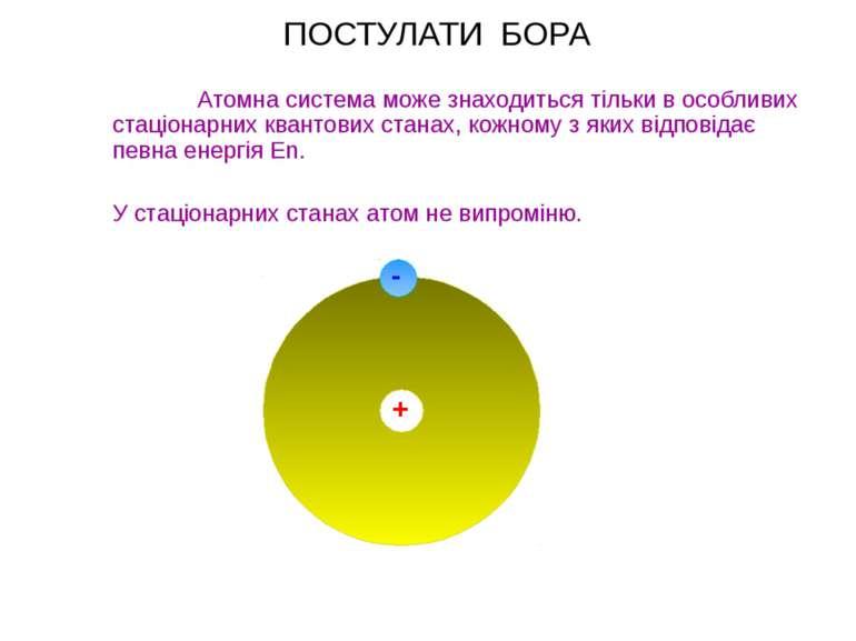 ПОСТУЛАТИ БОРА Атомна система може знаходиться тільки в особливих стаціонарни...