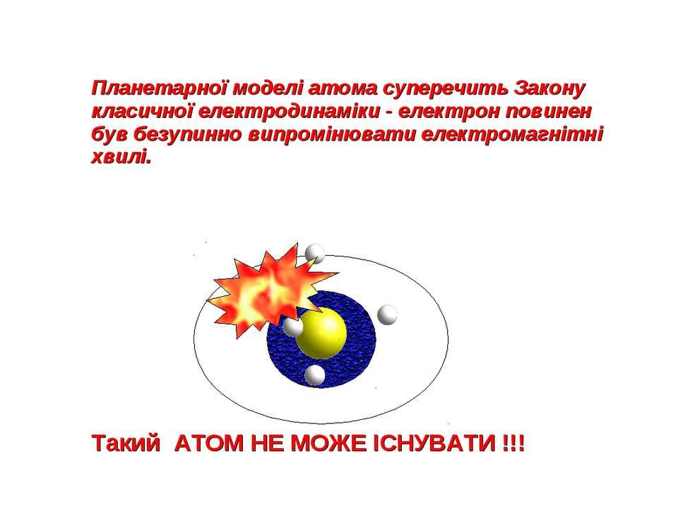 Планетарної моделі атома суперечить Закону класичної електродинаміки - електр...
