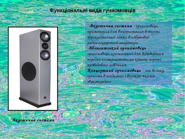 Функціональні види гучномовців -Акустична система - гучномовець, призначений ...