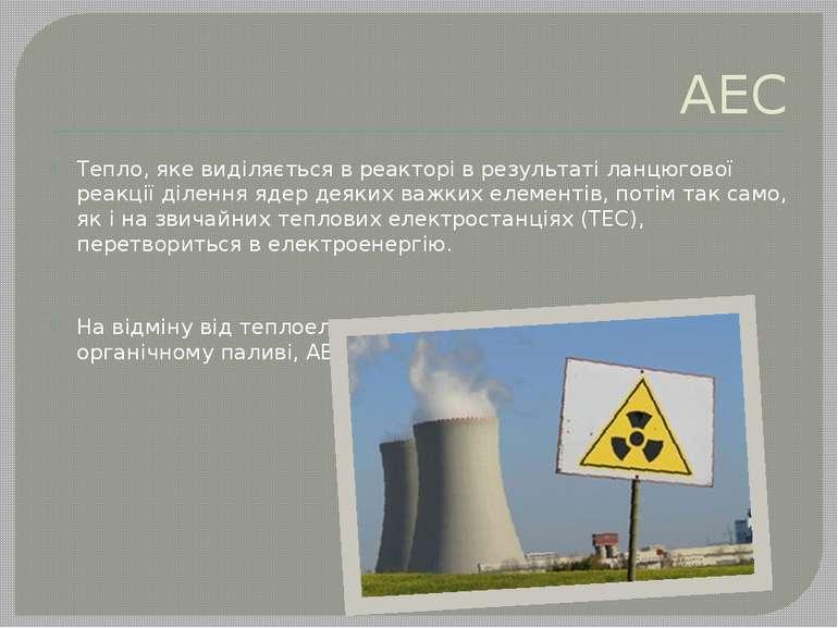 АЕС Тепло, яке виділяється в реакторі в результаті ланцюгової реакції ділення...