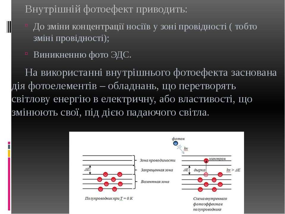 Внутрішній фотоефект приводить: До зміни концентрації носіїв у зоні провіднос...