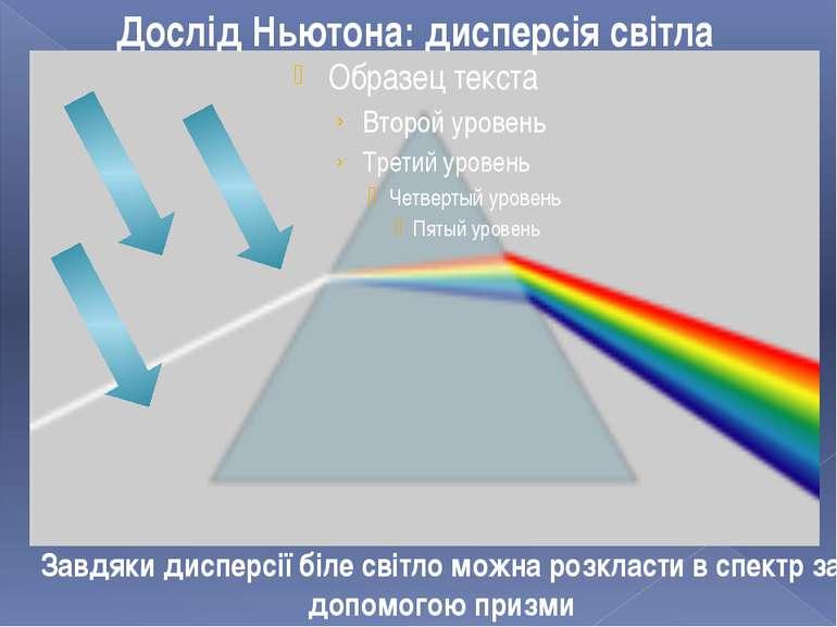 Дослід Ньютона: дисперсія світла Завдяки дисперсії біле світло можна розкласт...
