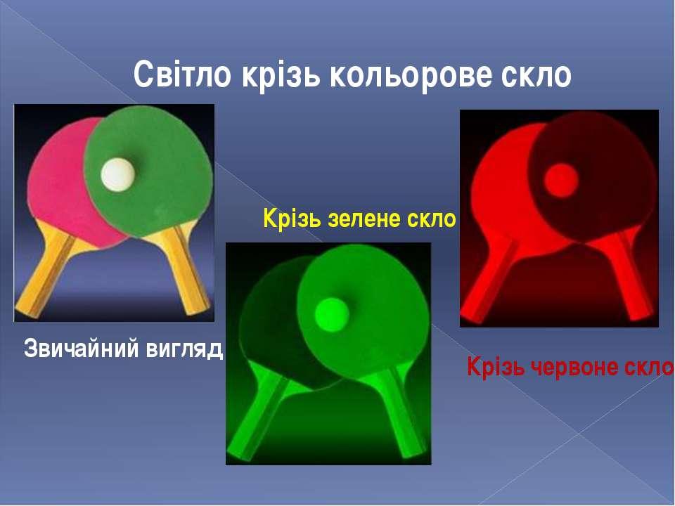 Світло крізь кольорове скло Крізь зелене скло Крізь червоне скло Звичайний ви...