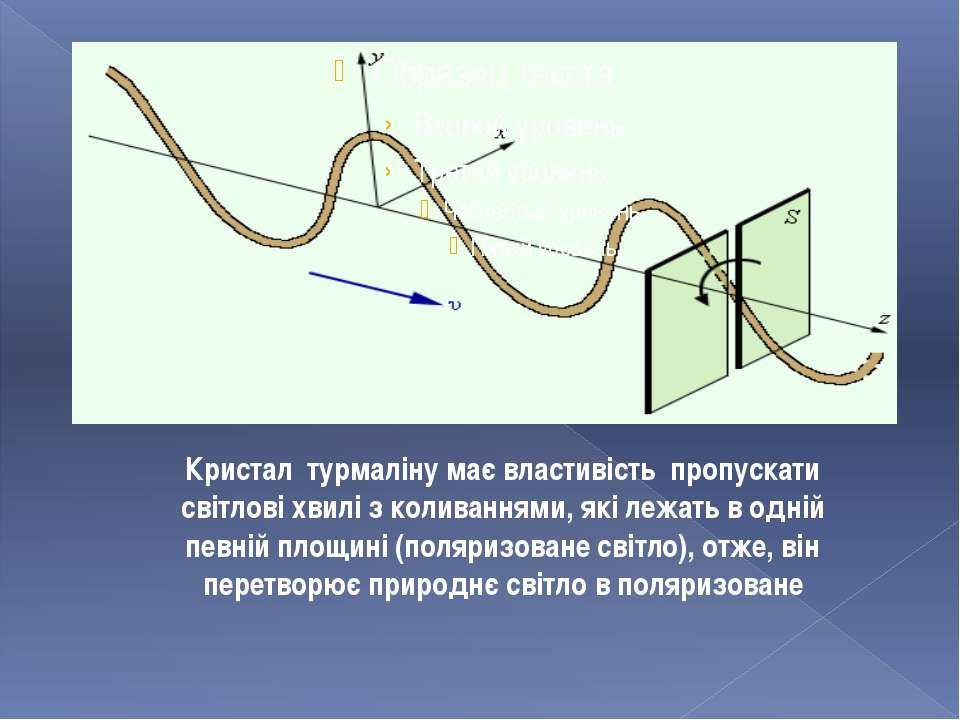 Кристал турмаліну має властивість пропускати світлові хвилі з коливаннями, як...