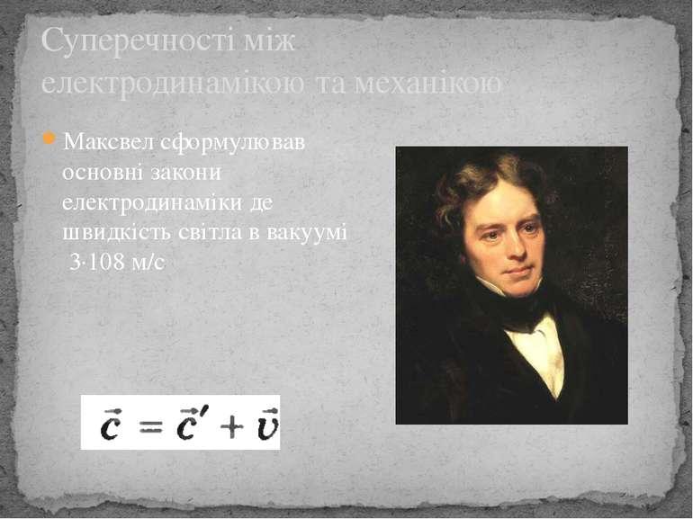 Максвел сформулював основні закони електродинаміки де швидкість світла в ваку...
