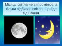Місяць світла не випромінює, а тільки відбиває світло, що йде від Сонця.