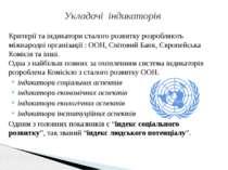 Критерії та індикатори сталого розвитку розробляють міжнародні організації : ...