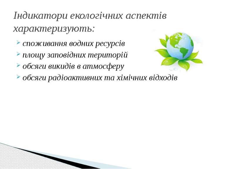 споживання водних ресурсів площу заповідних територій обсяги викидів в атмосф...