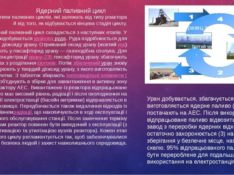 Ядерний паливний цикл Існують різні типи паливних циклів, які залежать від ти...