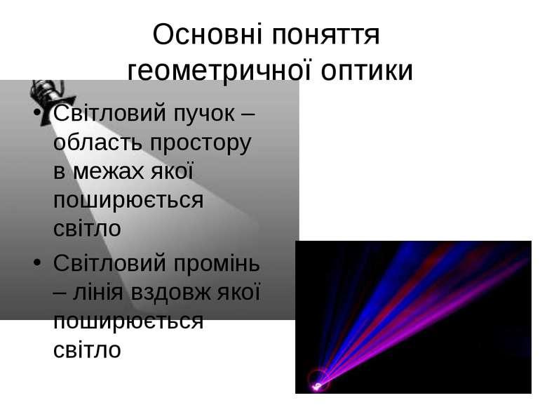 Основні поняття геометричної оптики Світловий пучок – область простору в межа...