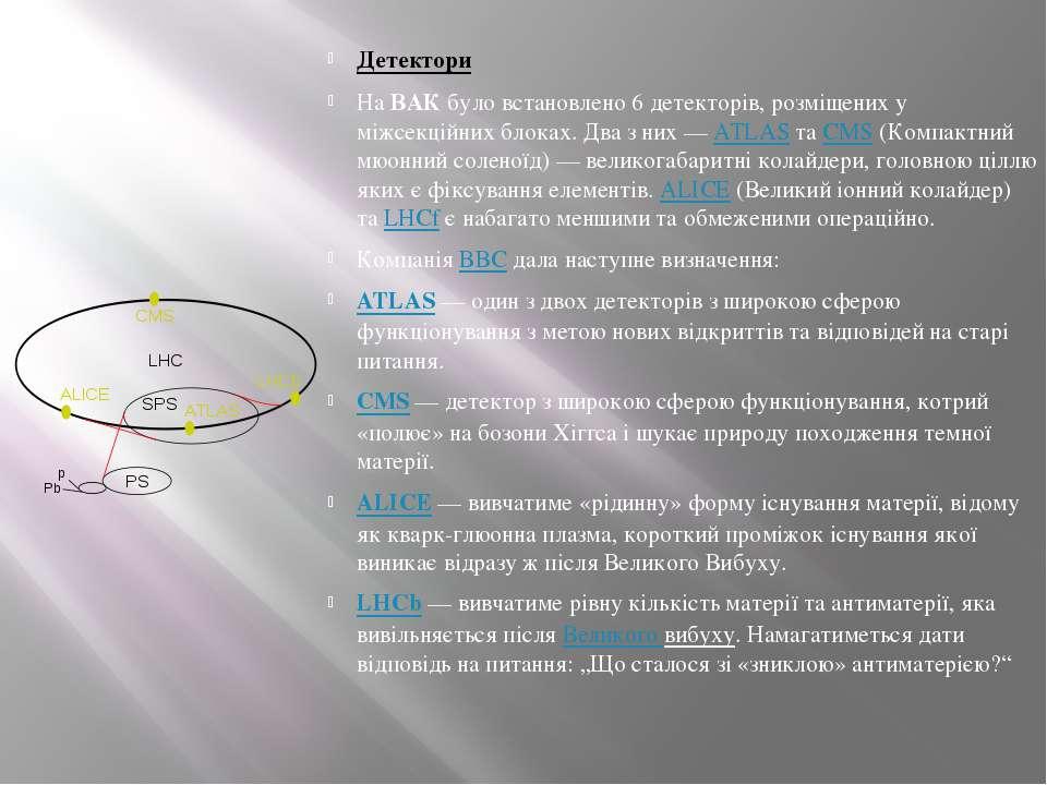 Детектори НаВАКбуло встановлено 6 детекторів, розміщених у міжсекційних бло...