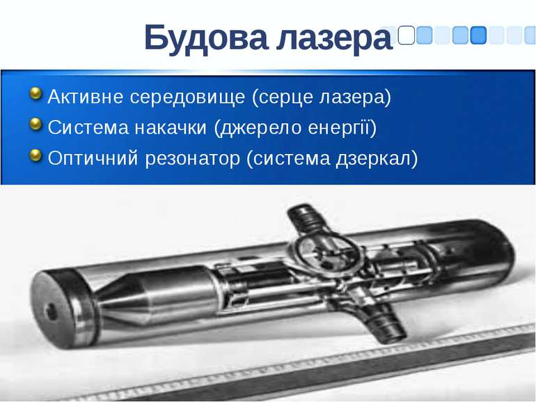 Будова лазера Активне середовище (серце лазера) Система накачки (джерело енер...