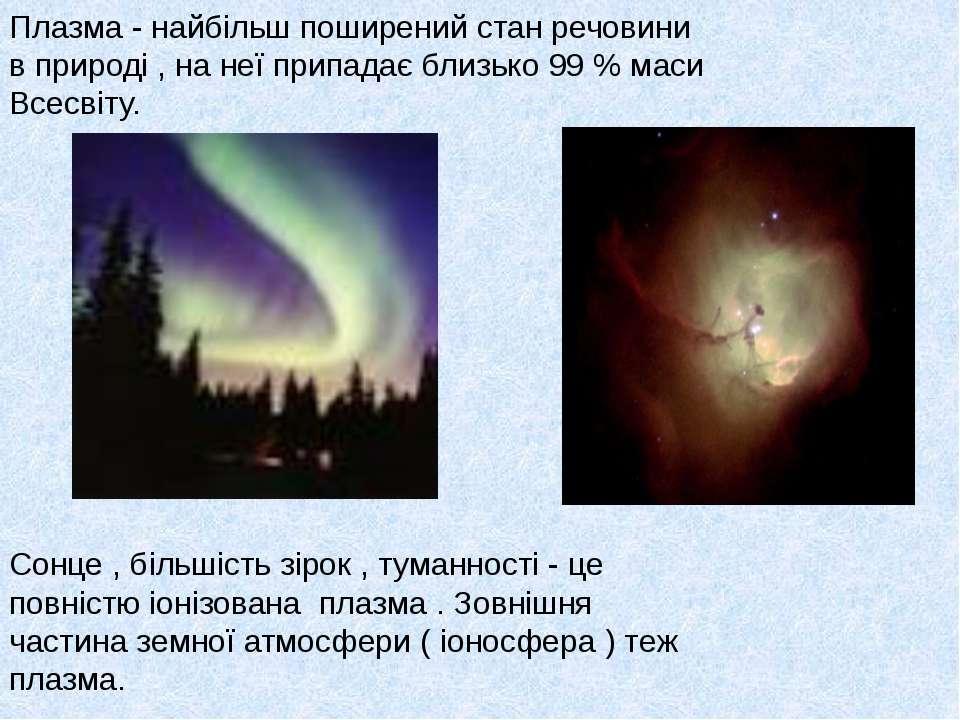 Плазма - найбільш поширений стан речовини в природі , на неї припадає близько...