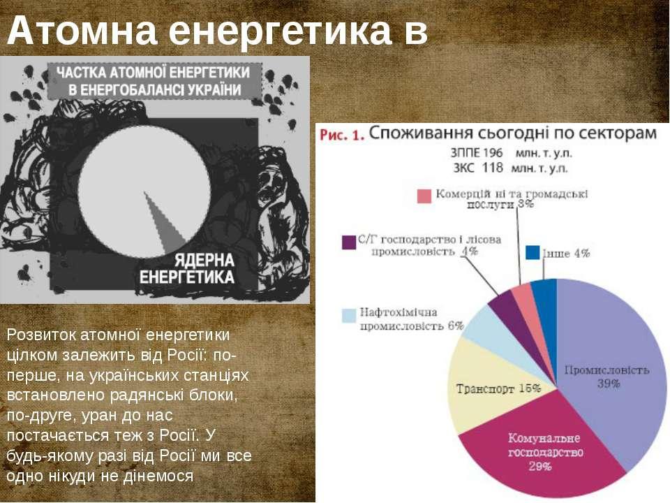 Атомна енергетика в Україні Розвиток атомної енергетики цілком залежить від Р...