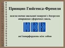 Принцип Гюйгенса-Френеля кожна точка хвильової поверхні є джерелом вторинних ...