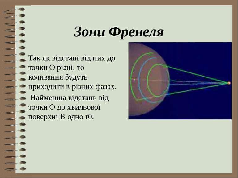 Зони Френеля Так як відстані від них до точки О різні, то коливання будуть пр...