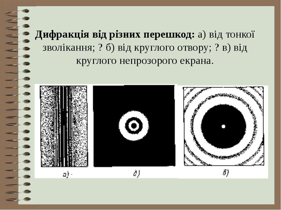 Дифракція від різних перешкод: а) від тонкої зволікання; ? б) від круглого от...