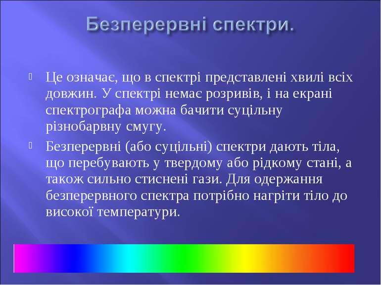 Це означає, що в спектрі представлені хвилі всіх довжин. У спектрі немає розр...