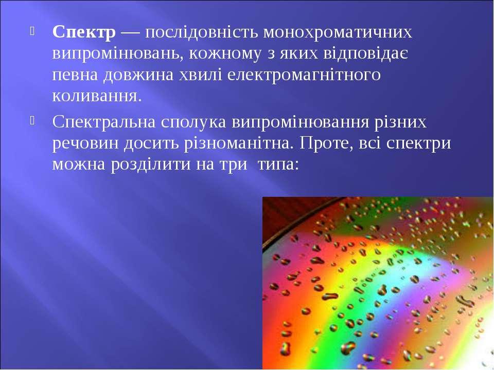 Спектр — послідовність монохроматичних випромінювань, кожному з яких відповід...