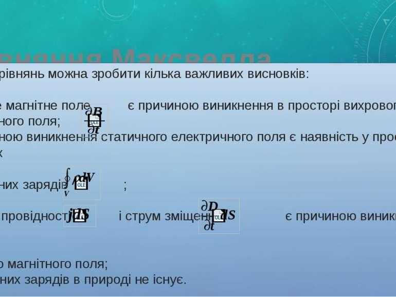 Рівняння Максвелла З цих рівнянь можна зробити кілька важливих висновків: (1)...