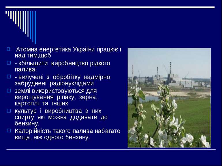 Атомна енергетика України працює і над тим,щоб - збільшити виробництво рідког...