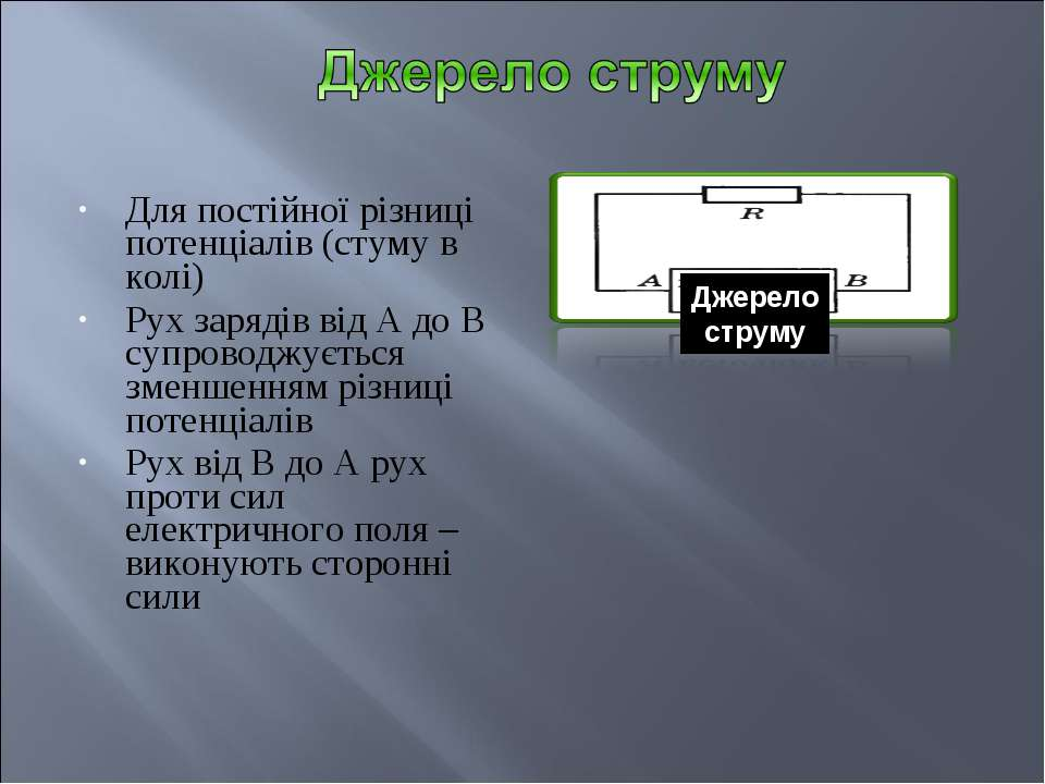 Для постійної різниці потенціалів (стуму в колі) Рух зарядів від А до В супро...
