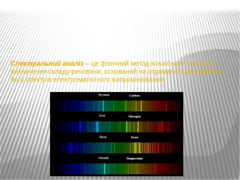 Спектральний аналіз–це фізичний метод кількісного і якісного визначення скл...