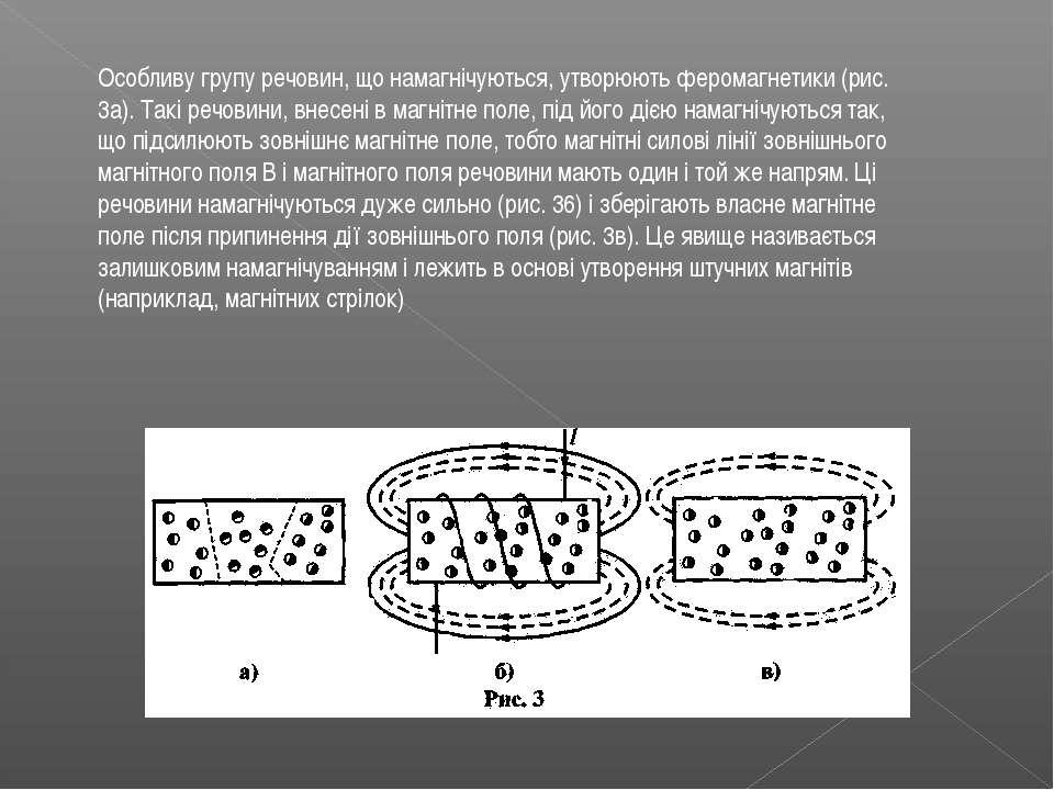 Особливу групу речовин, що намагнічуються, утворюють феромагнетики (рис. 3а)....