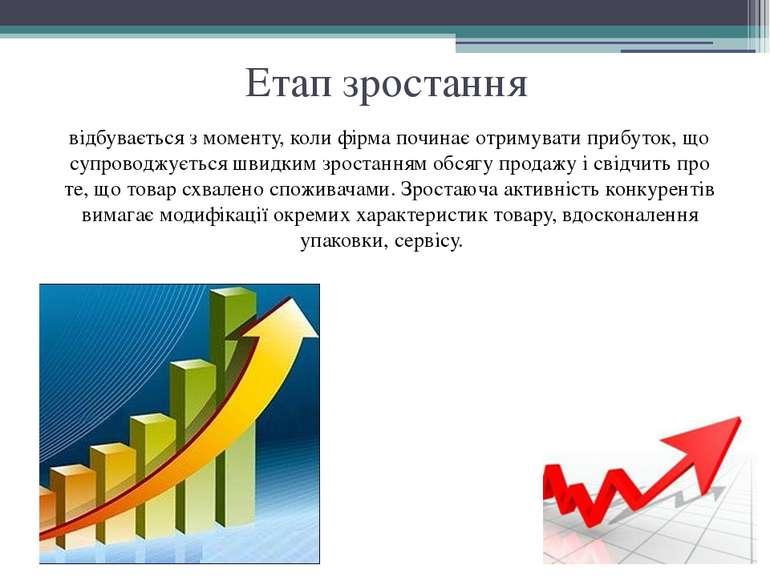 Етап зростання відбувається з моменту, коли фірма починає отримувати прибуток...