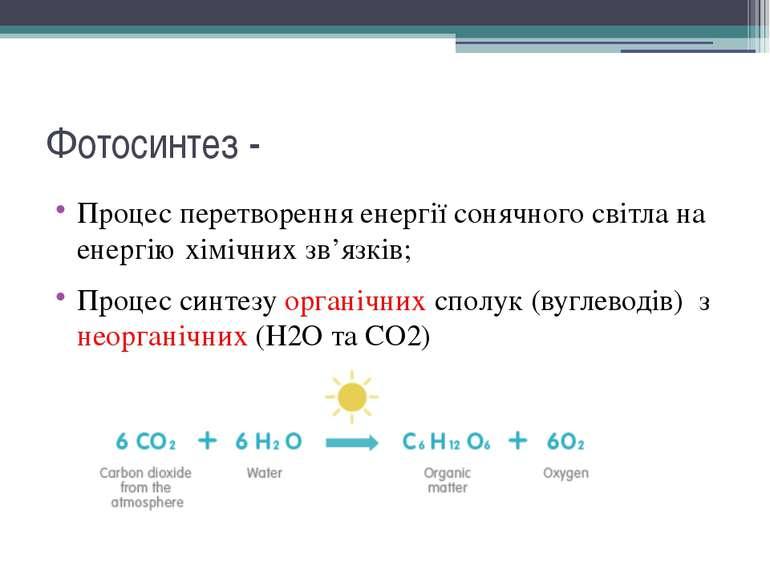 Фотосинтез - Процес перетворення енергії сонячного світла на енергію хімічних...