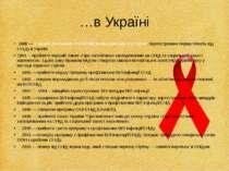 …в Україні 1988 — 1 грудня оголошено Всесвітнім Днем Боротьби зі СНІДом. Заре...
