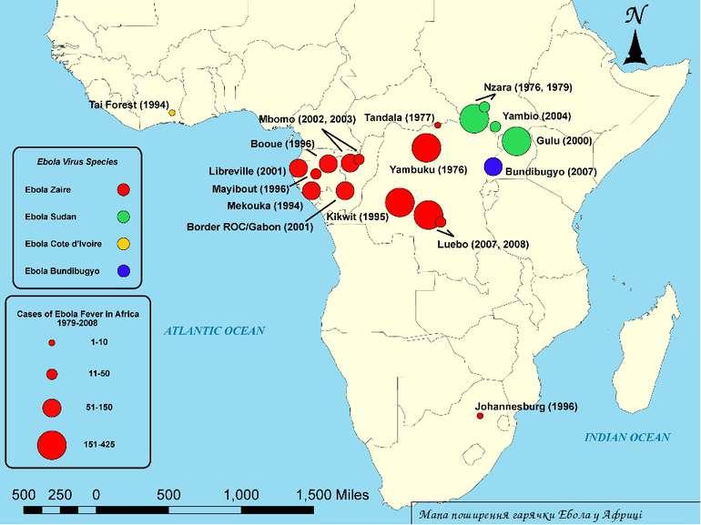 Мапа поширення гарячки Ебола у Африці