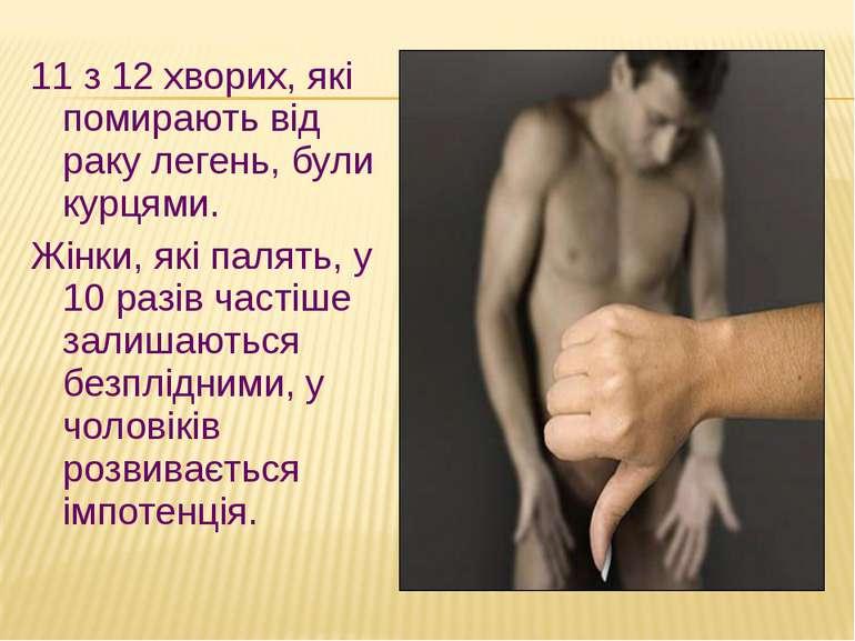 11 з 12 хворих, які помирають від раку легень, були курцями. Жінки, які палят...