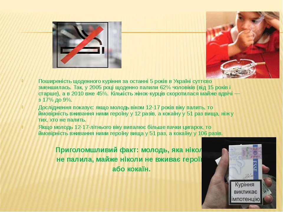 Поширеність щоденного куріння за останні 5 років в Україні суттєво зменшилась...